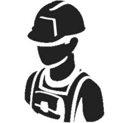 icon of worker black in graphic