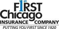 first chicago matrix insurance black and blue logo number one in blue color