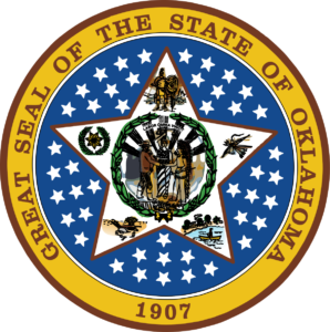 oklahoma seal indians and cowboys 1907 logo star in the middle